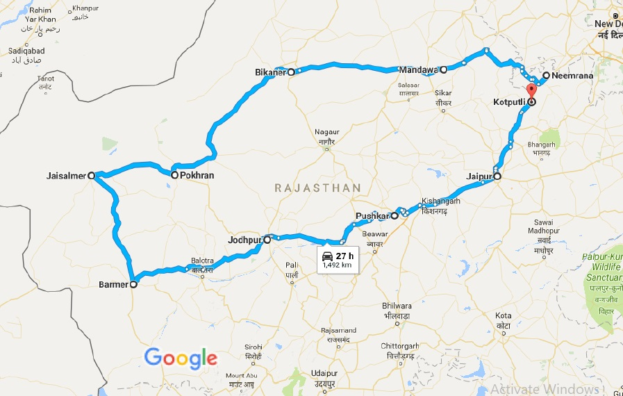rajasthan route map